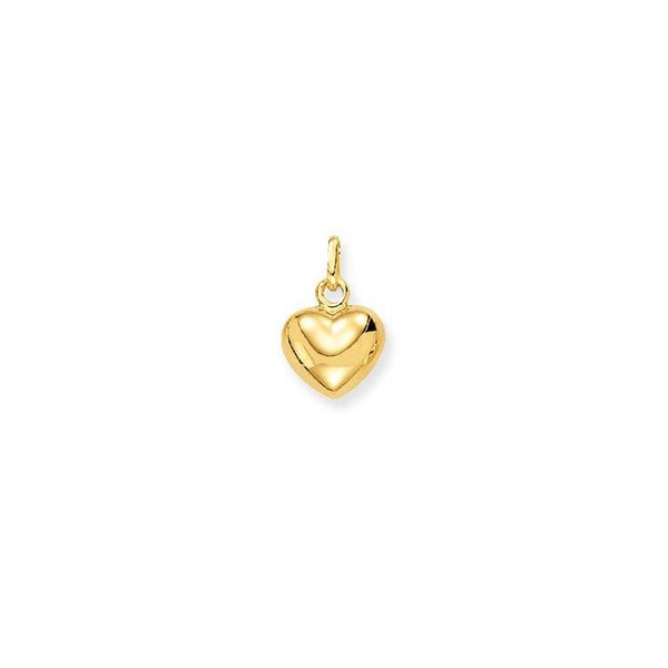 Gouden bedel - 8 x 10 mm - bol hart - glanzend