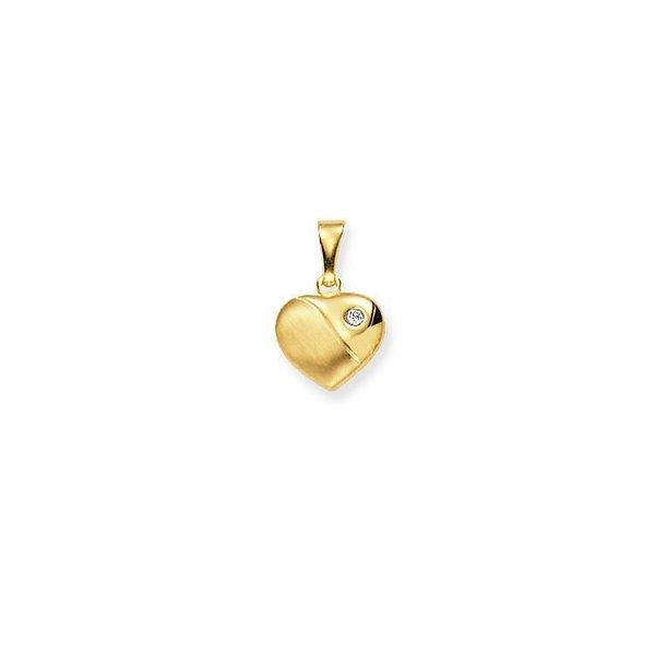 Gouden bedel - bol hart - mat glanzend - zirkonia