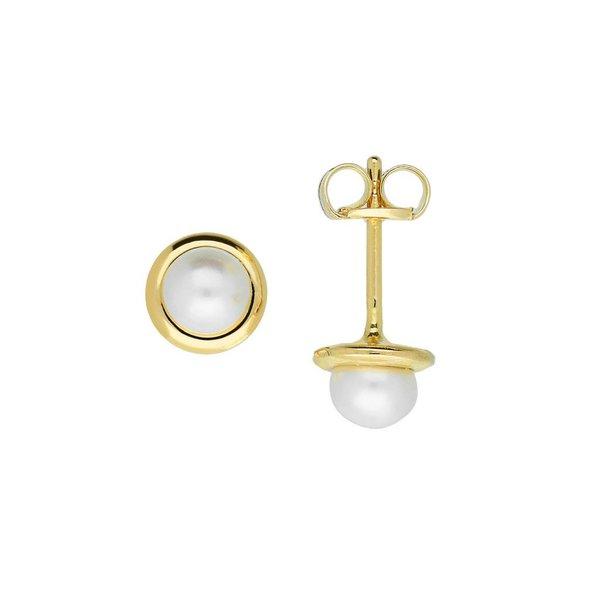 Gouden zoetwaterpareloorknopjes - 4 mm - rand