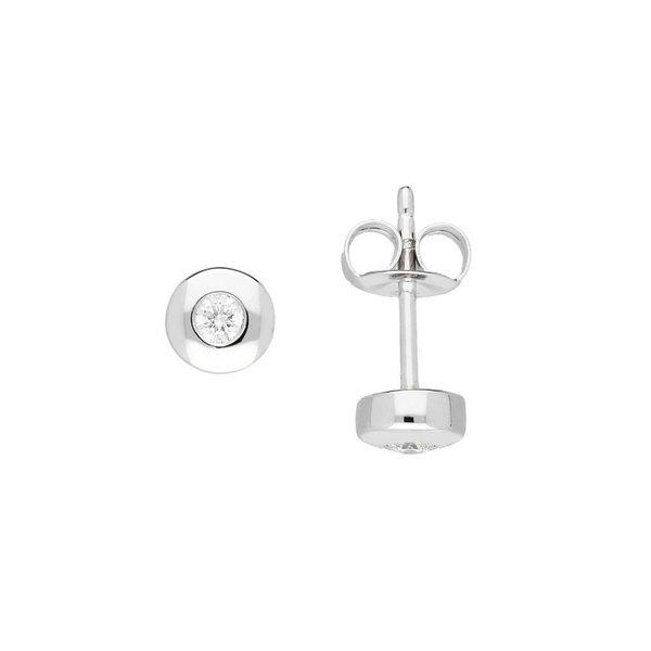Witgouden solitair oorknoppen - diamant -2 0.1ct