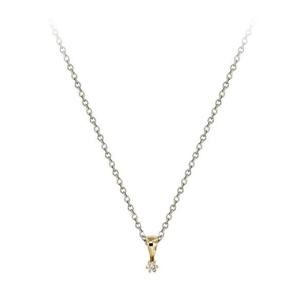 Gouden hanger - diamant - 1-0.03 ct. - g/si