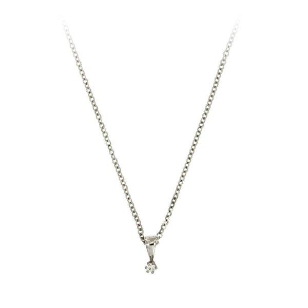 Witgouden hanger - diamant - 1-0.03 ct - g/si