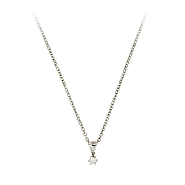 Witgouden hanger - diamant - 1-0.05 ct - g/si
