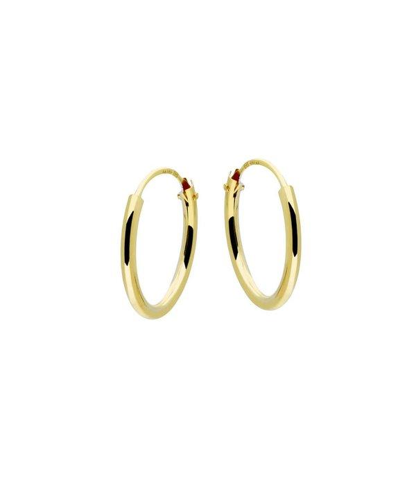 Glow Gouden draadcreolen - ronde buis - 13 x 1.3 mm - Met scharnier