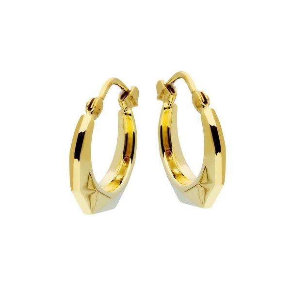 Gouden klapcreolen - met scharnier - 14 mm