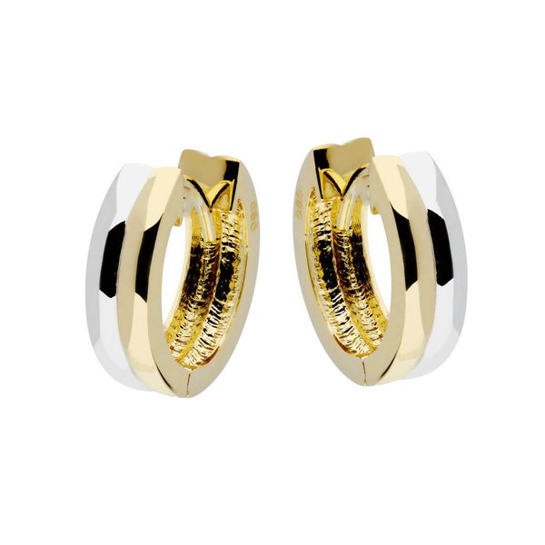 Gouden klapcreolen - bicolor - vierkante buis 14mm