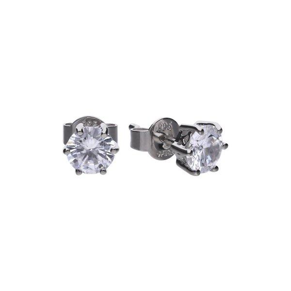 Zilveren solitair oorknoppen diamonfire - 0.75 ct