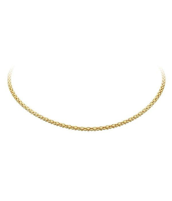 Best basics Zilveren gold-plated schakelcollier - popcorn - 3.5 mm
