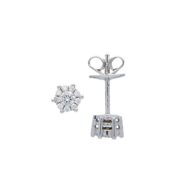 Witgouden oorknoppen - diamant - 20-0.18ct