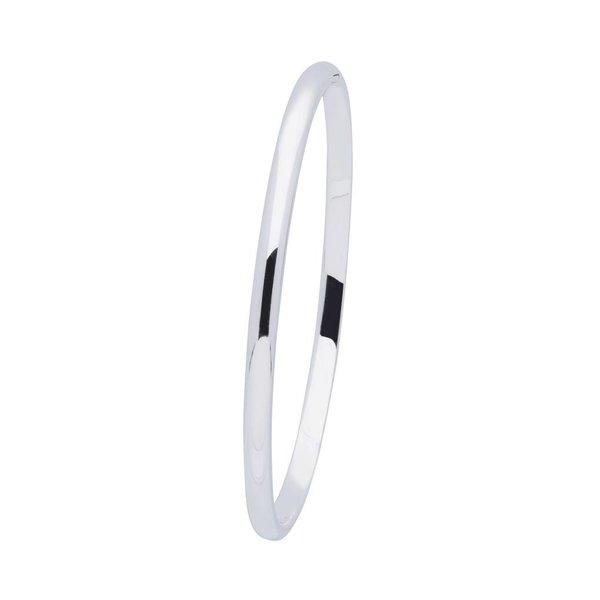 Zilveren massieve slavenband 4 mm - ovaal 60 mm