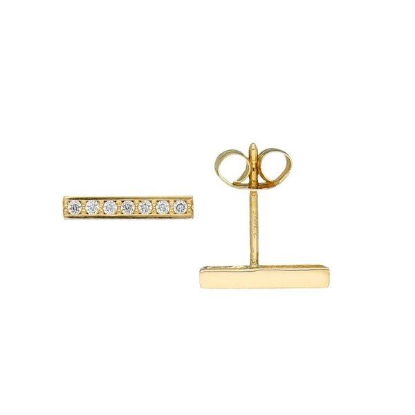 Gouden oorknoppen - balk - zirkonia