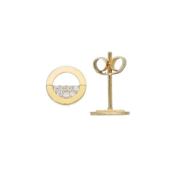 Gouden oorknoppen - rond - half pave