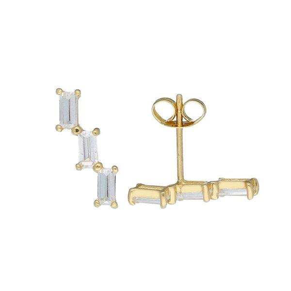 Gouden oorknoppen - 3x baguette