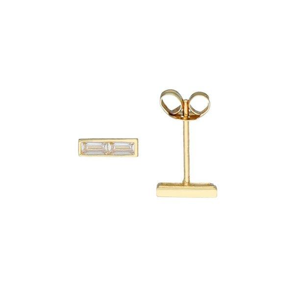 Gouden oorknoppen - baguette - kastzetting