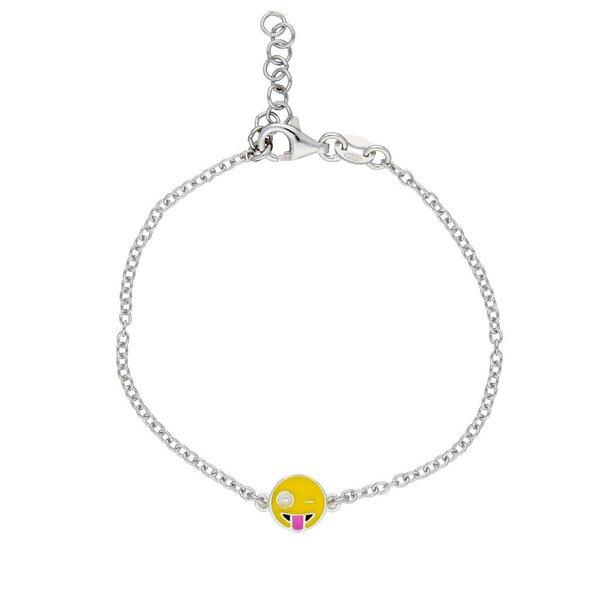 Zilveren symboolarmband - emoticon