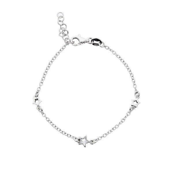 Zilveren symboolarmband - open sterren gerodineerd