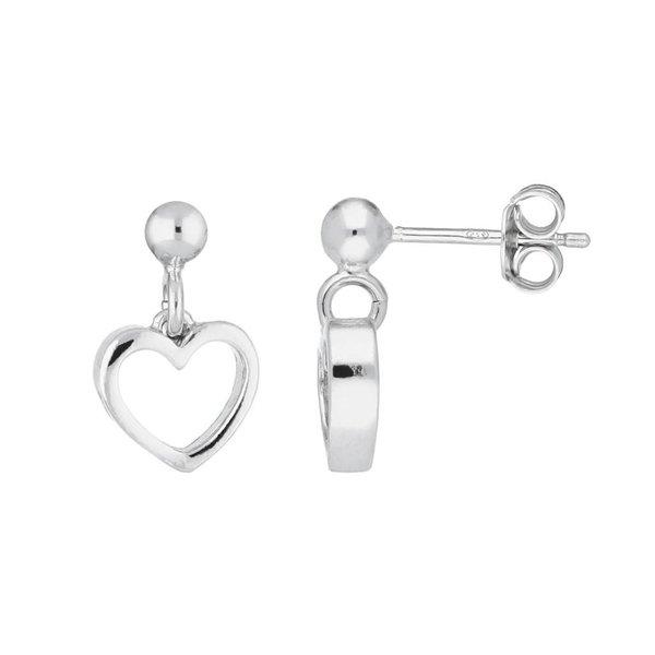 Zilveren kinderoorhangers - open hart - rodium