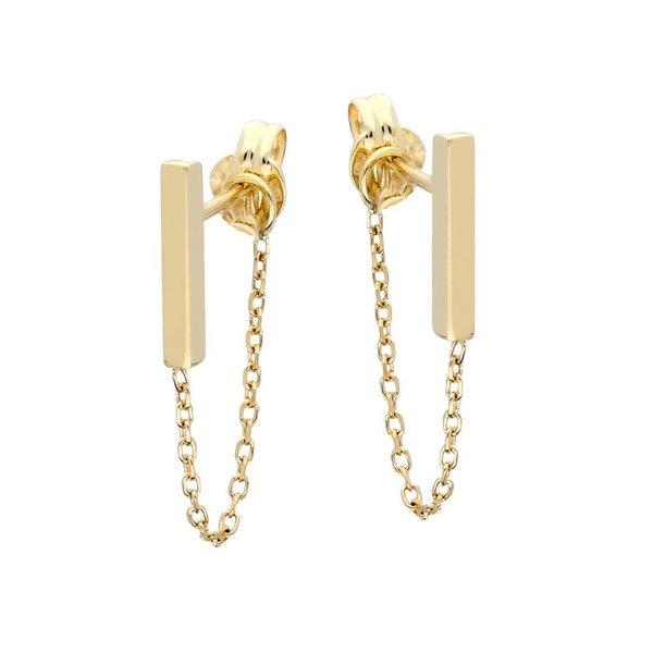 Gouden staafknoppen - met ketting