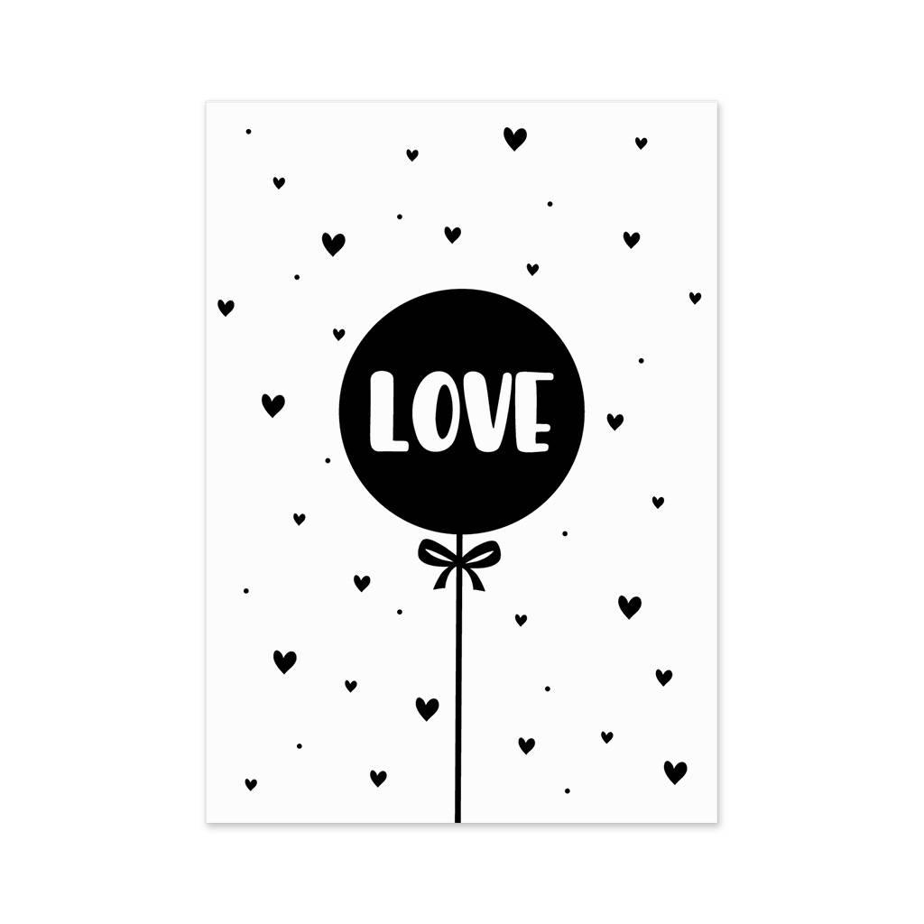 Lovely Bird Postkarte Luftballon Love