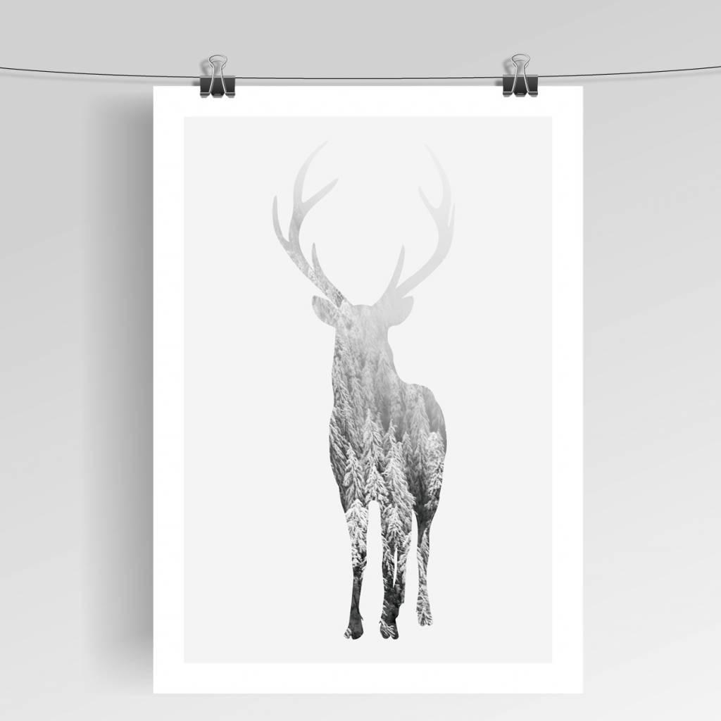 Lovely Bird Deer Poster