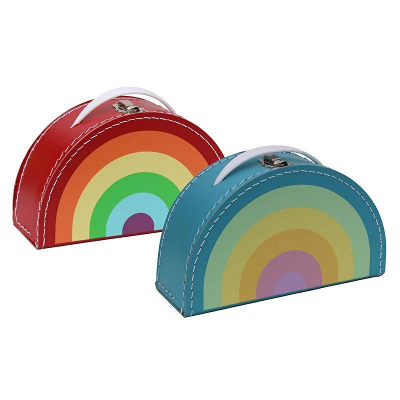 Kids Boetiek Deko Koffer Regenbogen Pastell
