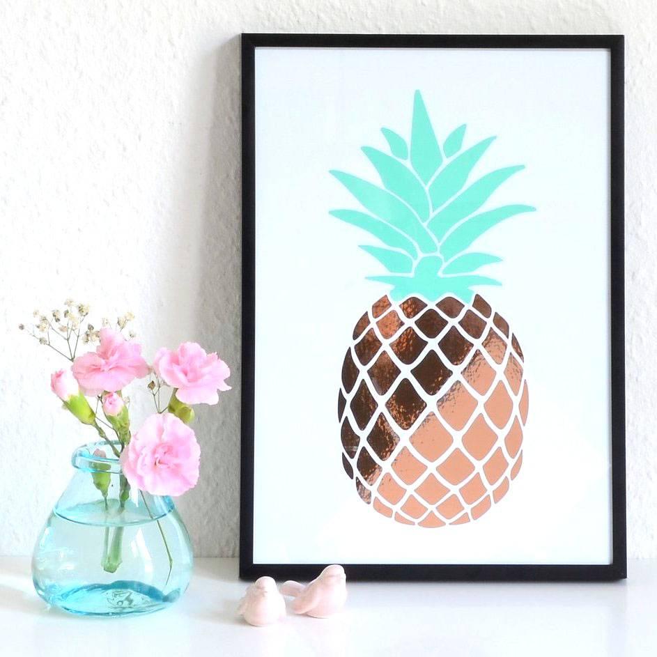 Lovely Bird Kupfer Ananas Folien ArtPrint