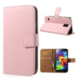 Bookwallet hoes Samsung Galaxy S5 lichtroze
