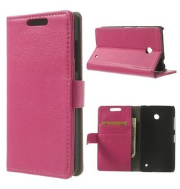 Bookwallet hoes Microsoft Lumia 630 roze