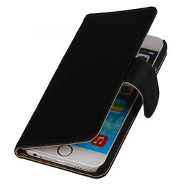Echt lederen wallet hoes iPhone 6(s) Plus zwart