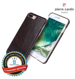 Pierre Cardin Pierre Cardin echt lederen hardcase hoes iPhone 7 Plus / 8 Plus coffee