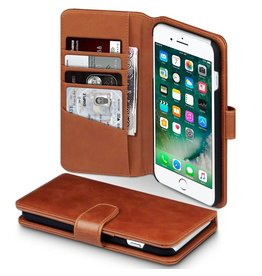 Qubits Qubits luxe echt lederen wallet hoes iPhone 7 Plus / 8 Plus cognac