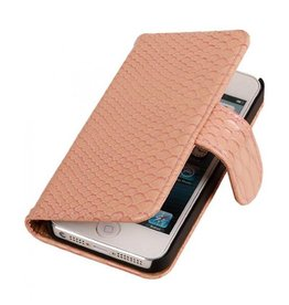 Bookwallet slang lichtroze hoes iPhone 4(s)