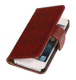 Bookwallet slang rood hoes iPhone 4(s)