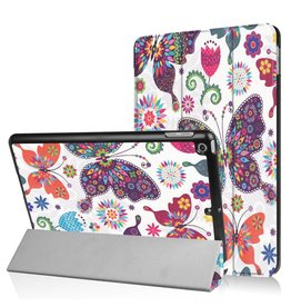 3-Vouw kleurrijke vlinders stand flip hoes iPad 9.7 inch (2017)