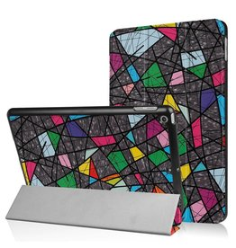 3-Vouw abstract patroon stand flip hoes iPad 9.7 inch (2017)
