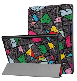 3-Vouw abstract patroon stand flip hoes Lenovo Tab 4 10 Plus