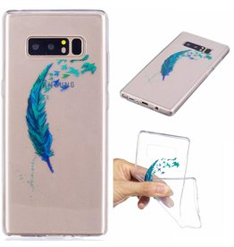 Softcase hoes blauwe veer Samsung Galaxy Note 8