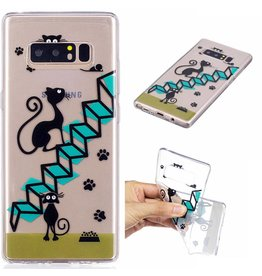Softcase hoes katten op trap Samsung Galaxy Note 8