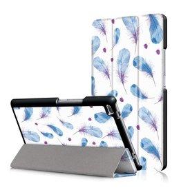 3-Vouw blauwe veertjes stand flip hoes Lenovo Tab 4 8