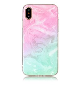 Softcase marmer roze/cyaan hoes iPhone X