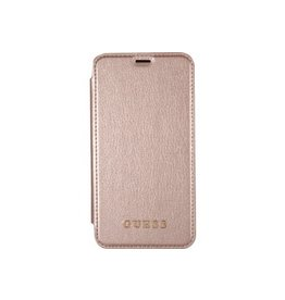 Guess Guess Iridescent wallet hoes iPhone X roze/goud
