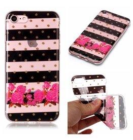 Softcase strepen en bloemen hoes iPhone 7 / 8