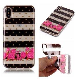 Softcase strepen en bloemen hoes iPhone X / XS