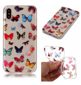 Softcase vlinders hoes iPhone X / XS