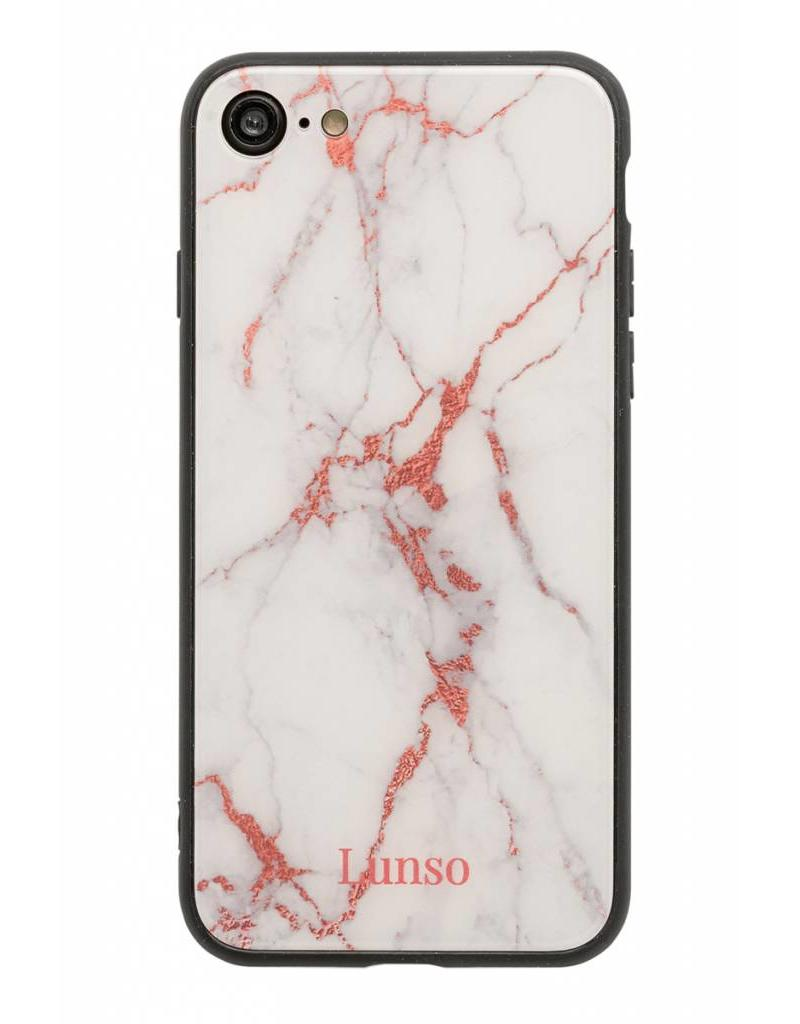 Lunso Lunso glazen backcover hoes marmer roze voor de iPhone 7 en iPhone 8