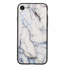 Lunso Lunso - glazen marmeren backcover hoes - iPhone 7 / 8 - zwart