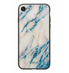 Lunso Lunso - glazen marmeren backcover hoes - iPhone 7 / 8 - lichtblauw