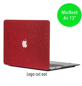 Lunso Lunso - glitter hardcase hoes - MacBook Air 13 inch - rood