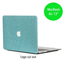 Lunso Lunso - glitter hardcase hoes - MacBook Air 13 inch - lichtblauw