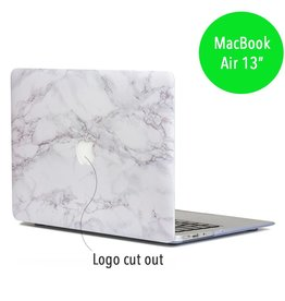 Lunso Lunso - hardcase hoes - MacBook Air 13 inch - licht marmer wit